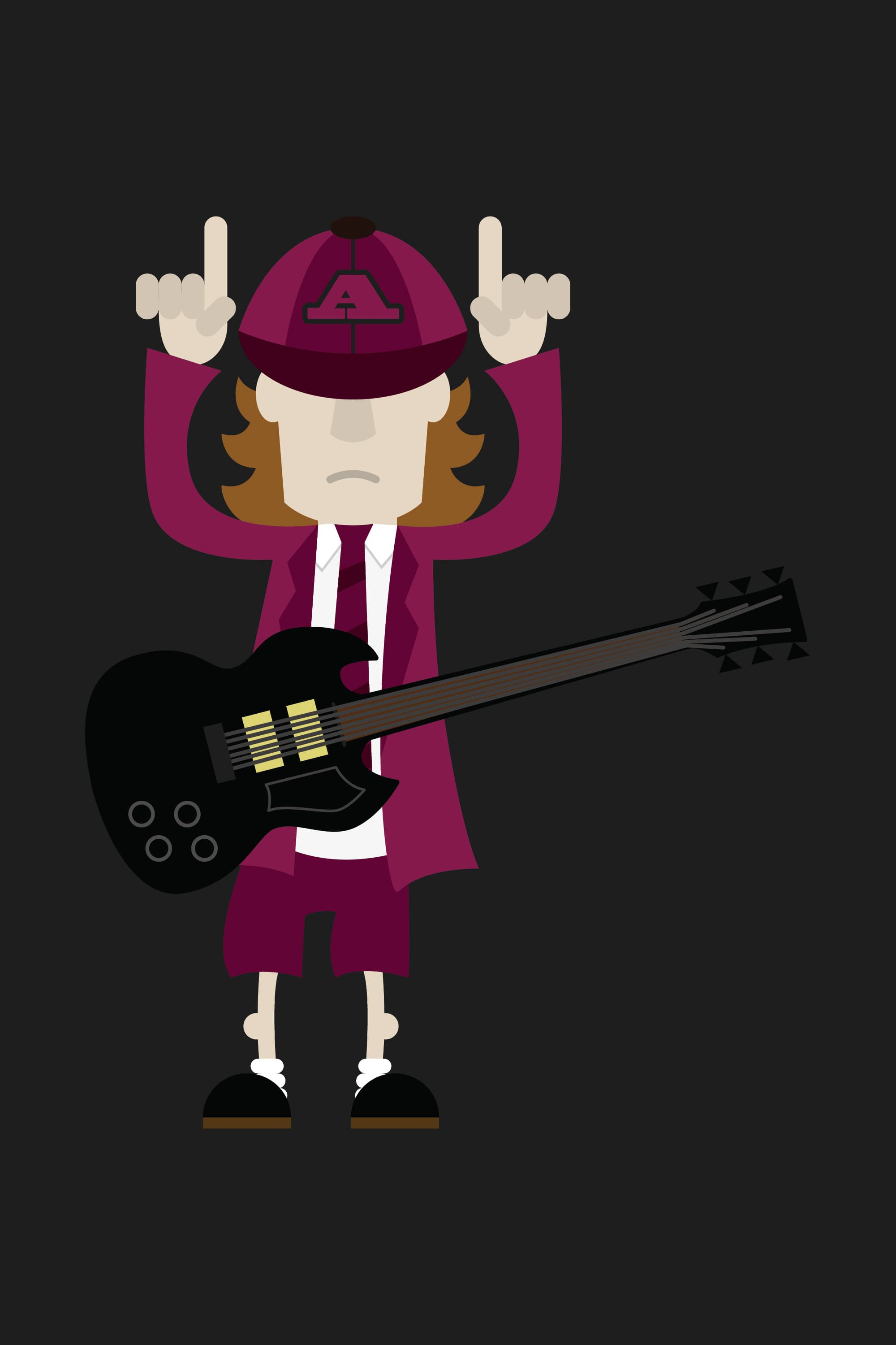 Andertons Music Co: Infographics & Illustrations - Angus Young Illustration
