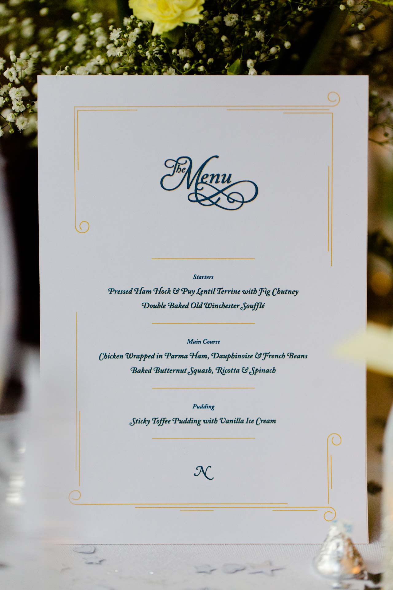 Andy & Nicola Wedding Stationery - Wedding menu