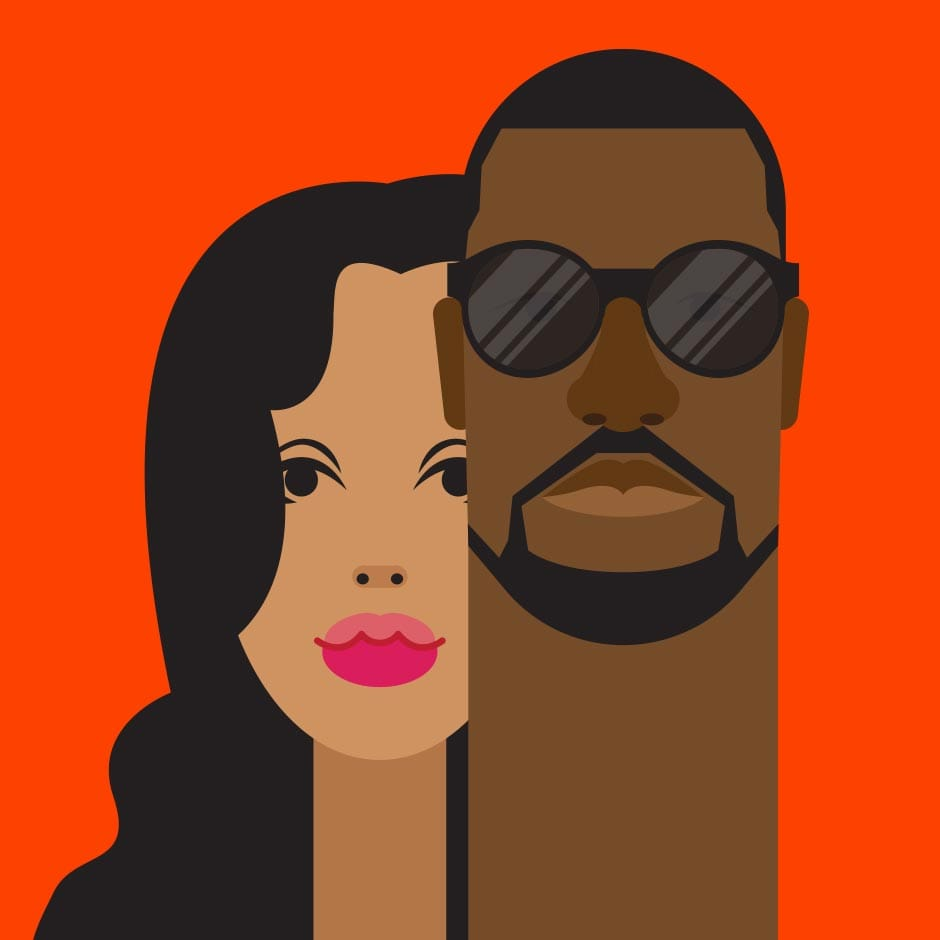 Illustration: Portraits - Kim & Kanye