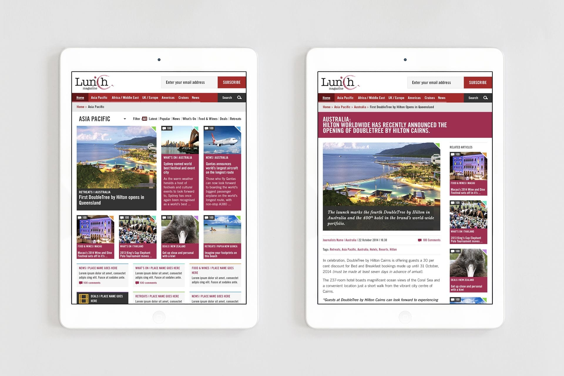 Lunch Magazine: Website - Tablet